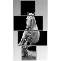 Tictac 4 Parça Kanvas Tablo - Beyaz At