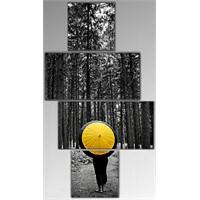 Tictac 4 Parça Kanvas Tablo - Sarı Şemsiye