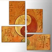 Tictac Ying Yang - 4 Parça Kanvas Tablo