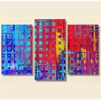 Tictac 3 Parça Kanvas Tablo - Renkler