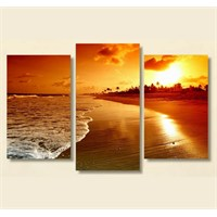 Tictac 3 Parça Kanvas Tablo - Sahil Ve Güneş