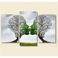 Tictac 3 Parça Kanvas Tablo - Öpüşen Ağaçlar