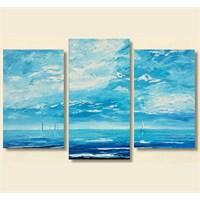 Tictac 3 Parça Kanvas Tablo - Okyanus