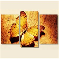 Tictac 3 Parça Kanvas Tablo - Sarı Kelebek