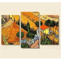 Tictac 3 Parça Kanvas Tablo - Van Gogh Köy Evi