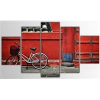 Tictac 5 Parça Kanvas Tablo - Kırmızı Duvar - 100X60 Cm