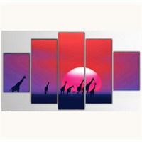 Tictac 5 Parça Kanvas Tablo - Afrikada Gün Batımı - 100X60 Cm