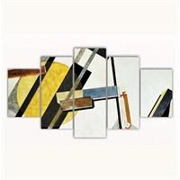 Tictac 5 Parça Kanvas Tablo - Soyut Sarı - 125X75 Cm