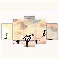 Tictac 5 Parça Kanvas Tablo - İskelede Çocuklar - 100X60 Cm