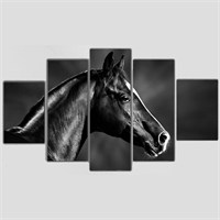 Tictac 5 Parça Kanvas Tablo - Siyah At - 100X60 Cm