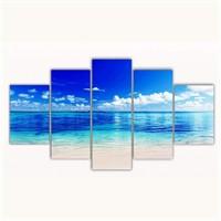 Tictac 5 Parça Kanvas Tablo - Okyanus - 125X75 Cm