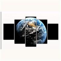 Tictac 5 Parça Kanvas Tablo - Dünya - 125X75 Cm