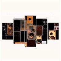 Tictac 5 Parça Kanvas Tablo - Speakers - 100X60 Cm