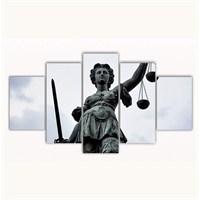 Tictac 5 Parça Kanvas Tablo - Adalet Heykeli - 125X75 Cm