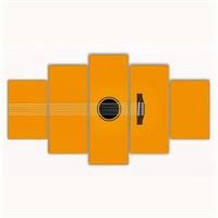 Tictac 5 Parça Kanvas Tablo - Sarı Gitar - 125X75 Cm