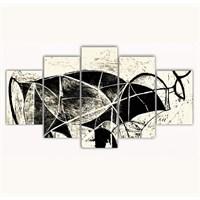 Tictac 5 Parça Kanvas Tablo - Picasso Boğa - 125X75 Cm