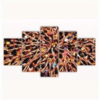Tictac 5 Parça Kanvas Tablo - Uzanan Eller - 100X60 Cm