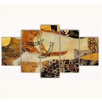 Tictac 5 Parça Kanvas Tablo - Klimt - 125X75 Cm