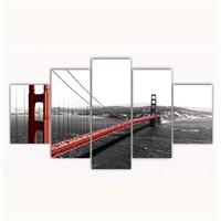 Tictac 5 Parça Kanvas Tablo - Golden Gate - 125X75 Cm