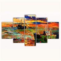 Tictac 5 Parça Kanvas Tablo - Balıkçı Tekneleri - 100X60 Cm