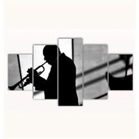Tictac 5 Parça Kanvas Tablo - Trompet Ustası - 100X60 Cm