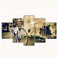 Tictac 5 Parça Kanvas Tablo - Mavi Bisiklet - 125X75 Cm