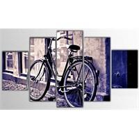 Tictac 5 Parça Kanvas Tablo - Mor Bisiklet - 125X75 Cm