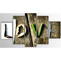 Tictac 5 Parça Kanvas Tablo - Love - 125X75 Cm