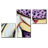 Tictac 3 Parça Kanvas Tablo - Mor Şapkalı Kadın