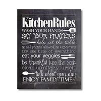 Tictac Kitchen Rules Kara Tahta Kanvas Tablo - 50X75 Cm
