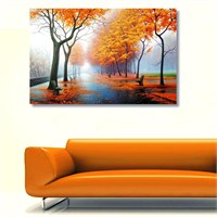 Tictac Sonbaharda Park Kanvas Tablo - 50X75 Cm
