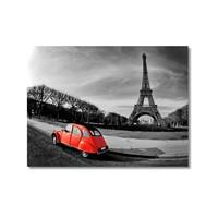 Tictac Eyfel Ve Kırmızı Araba 2 Kanvas Tablo - 50X75 Cm