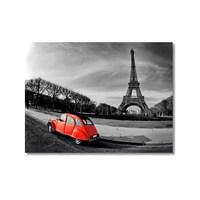 Tictac Eyfel Ve Kırmızı Araba 2 Kanvas Tablo - 60X90 Cm