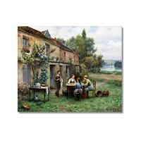 Tictac Bahçede Çay Kanvas Tablo - 50X75 Cm