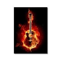 Tictac Yanan Gitar Kanvas Tablo - 50X75 Cm