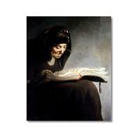 Tictac Okuyan Kadın Kanvas Tablo - 50X75 Cm