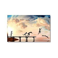 Tictac İskelede Çocuklar Kanvas Tablo - 50X75 Cm