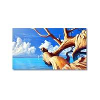 Tictac Denize Uzanan Ağaç Kanvas Tablo - 40X60 Cm