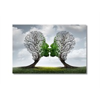 Tictac Öpüşen Ağaçlar Kanvas Tablo - 40X60 Cm