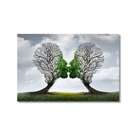 Tictac Öpüşen Ağaçlar Kanvas Tablo - 60X90 Cm