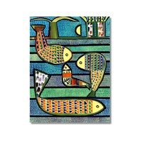 Tictac Balıklar Kanvas Tablo - 60X90 Cm