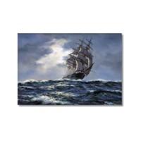 Tictac Fırtınada Yelkenli Kanvas Tablo - 40X60 Cm