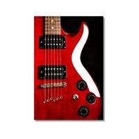 Tictac Kırmızı Gitar Kanvas Tablo - 50X75 Cm