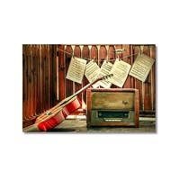 Tictac Gitar Ve Radyo Kanvas Tablo - 40X60 Cm
