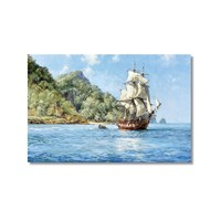 Tictac Deniz Ve Yelkenli Kanvas Tablo - 50X75 Cm