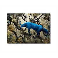Tictac Mavi Panter Kanvas Tablo - 60X90 Cm