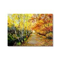Tictac Sonbaharda Ağaçlar Kanvas Tablo - 50X75 Cm