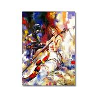 Tictac Çellolu Kadın Kanvas Tablo - 40X60 Cm