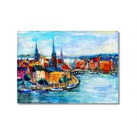 Tictac Renkli Şehir 2 Kanvas Tablo - 40X60 Cm