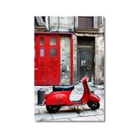 Tictac Kırmızı Vespa Kanvas Tablo - 50X75 Cm